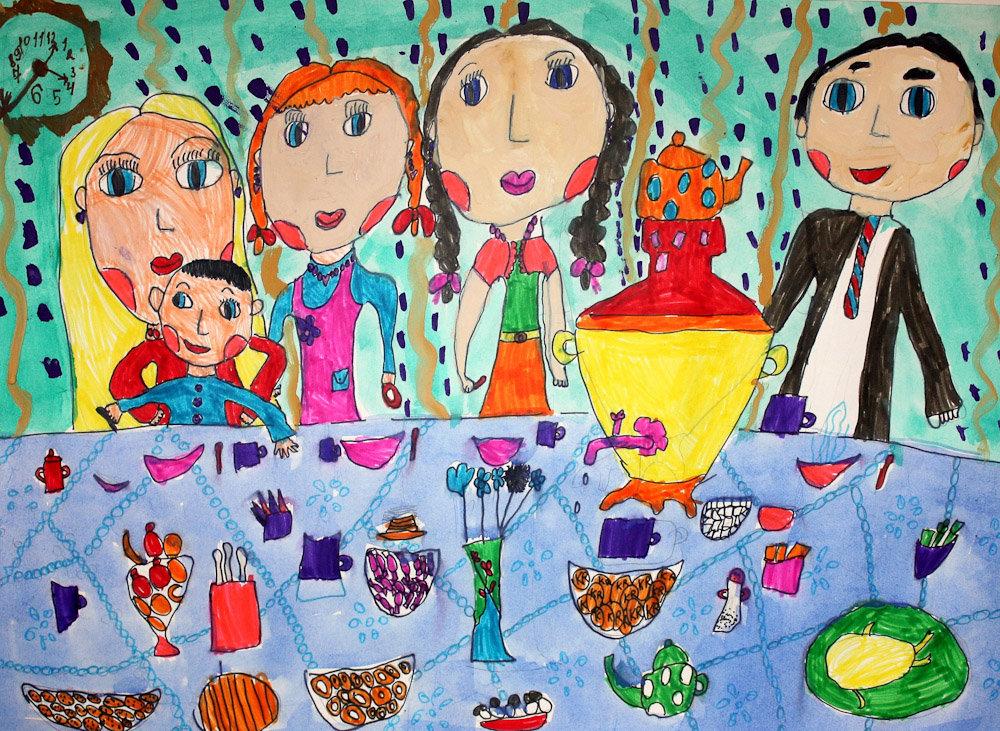 Детский рисунок семьи картинка