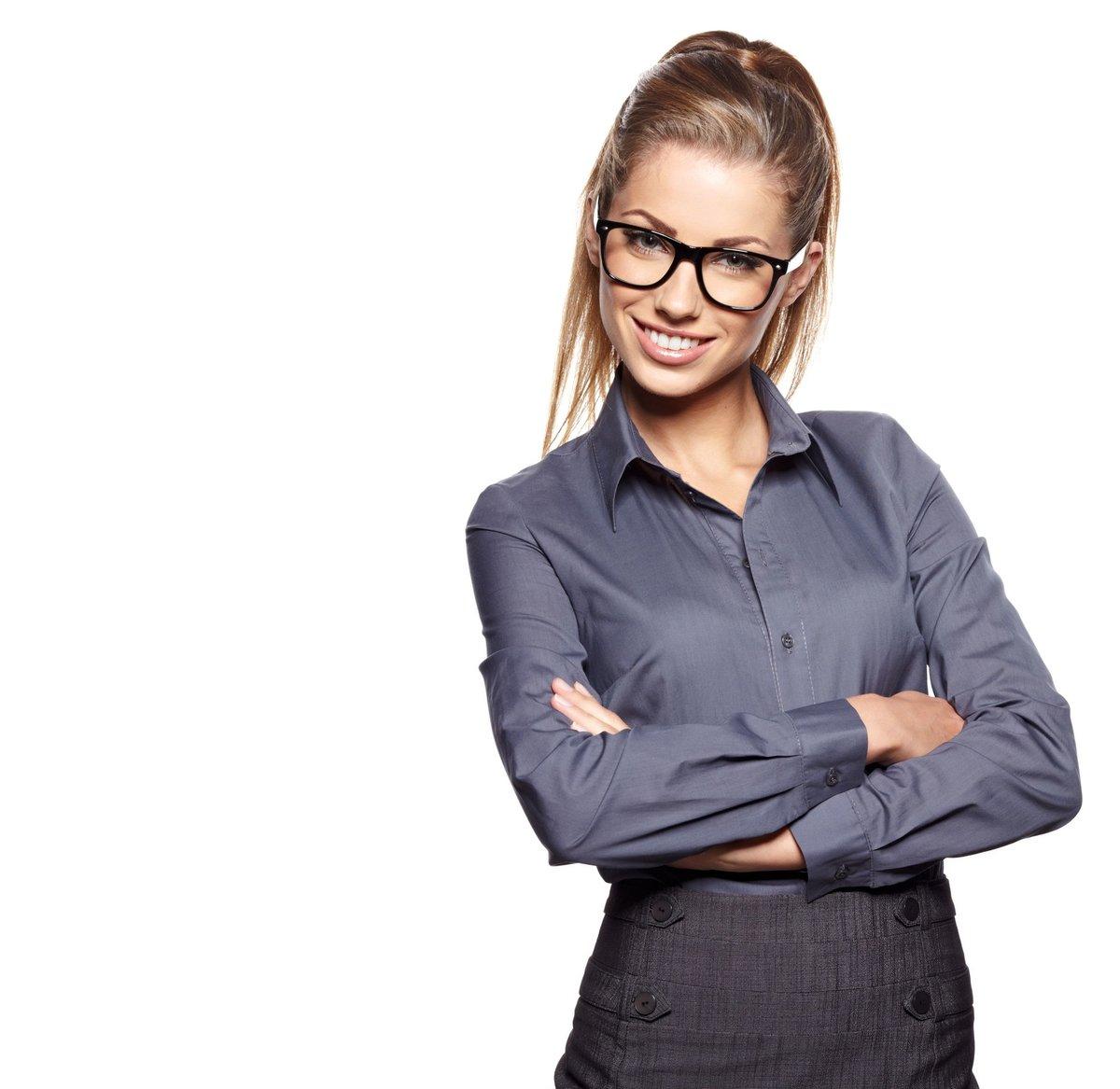 оделась девушка в очках строгих юное сексуально