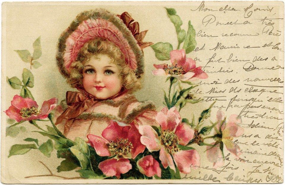 Днем рождения, с днем рождения женщине винтажная открытка