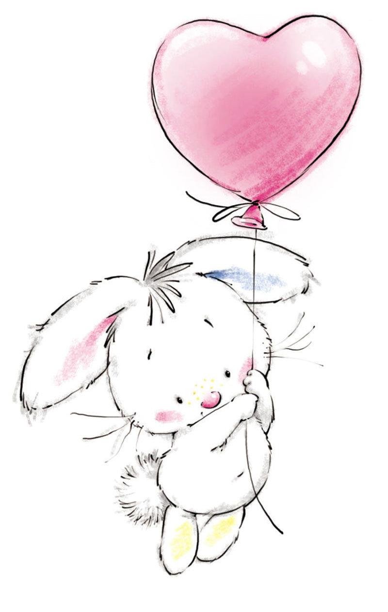 Открытка зайчик с шариками, днем рождения дедушке