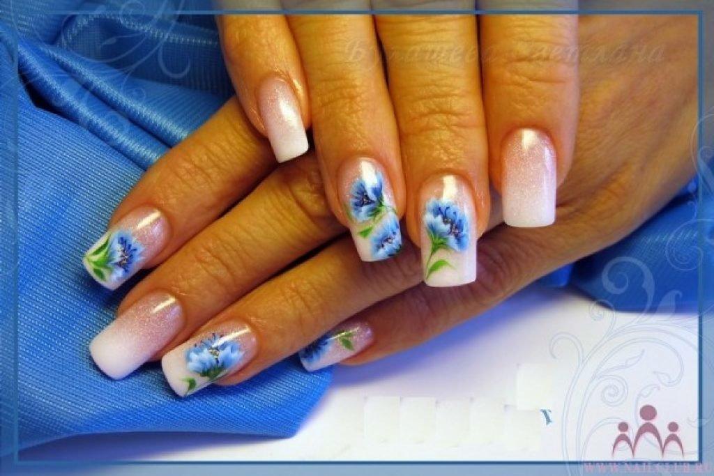 дизайн ногтей с васильками фото эпатажный