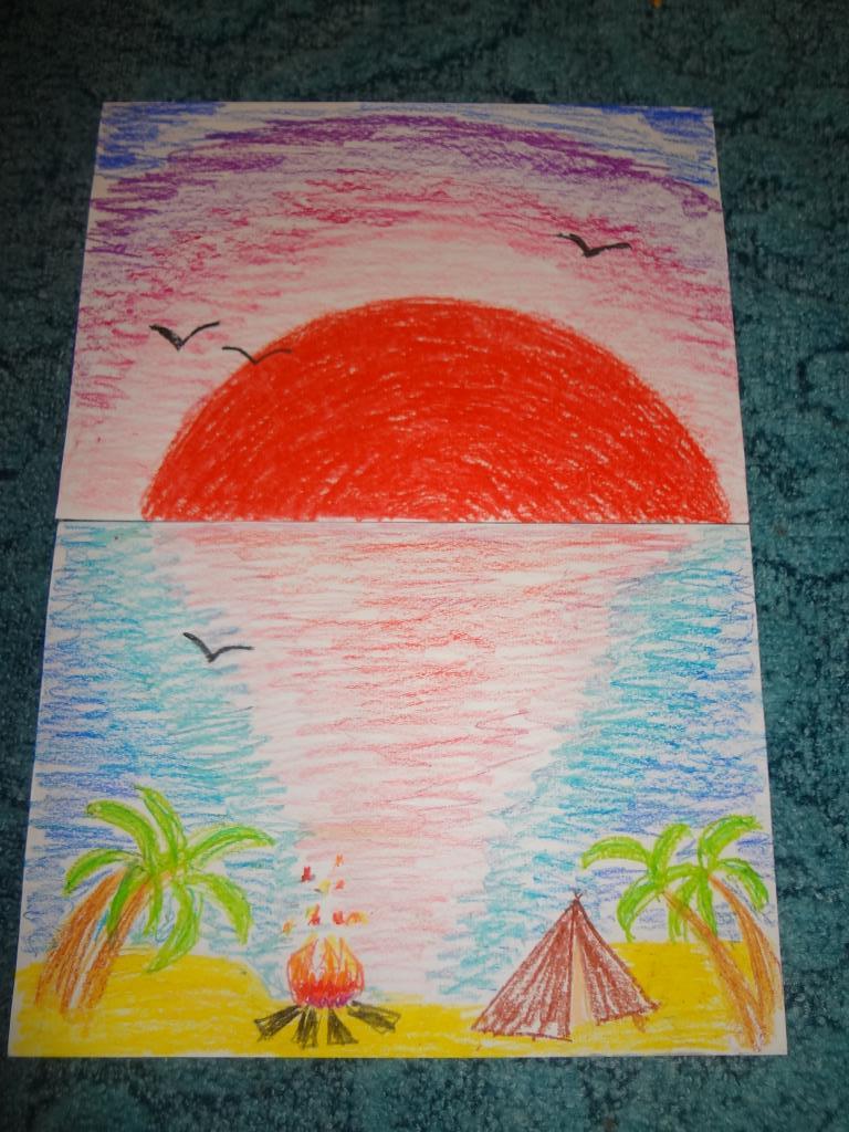 Как нарисовать картинку лето восковыми мелками