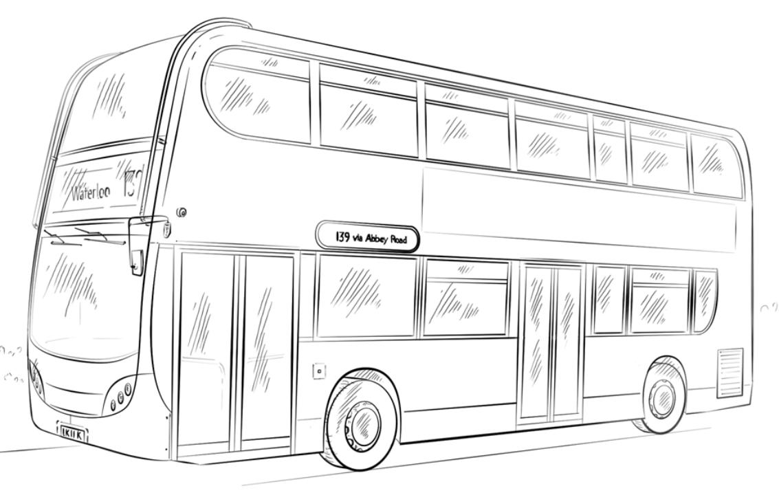 Картинка как нарисовать автобус дальнего следования дачу