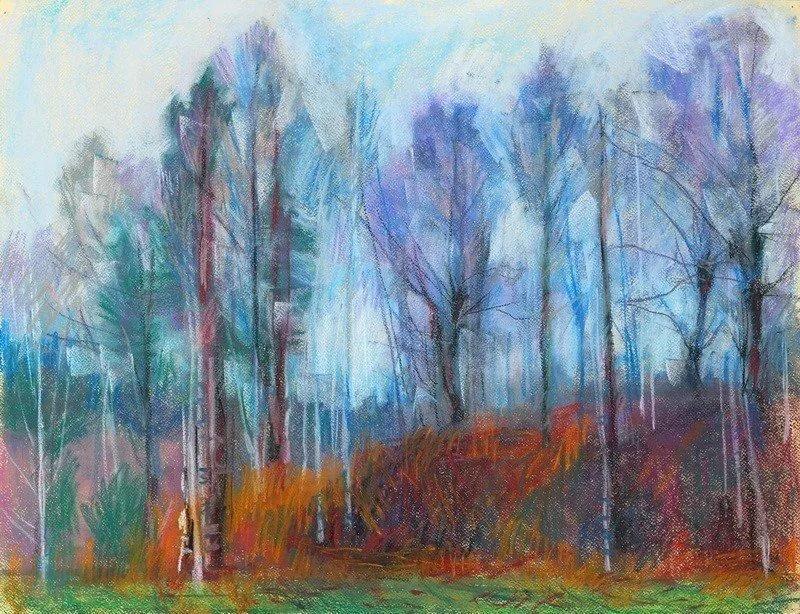 Осенний пейзаж пастелью в картинках