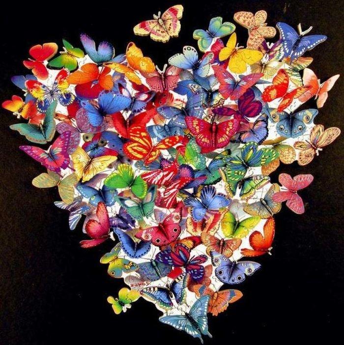 Поздравлений папа, сердце из бабочек открытка