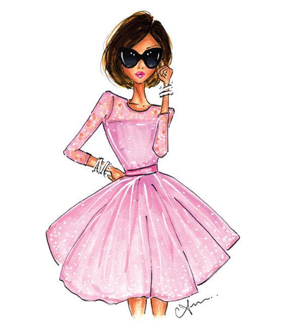 Картинки девочки в платье нарисованные