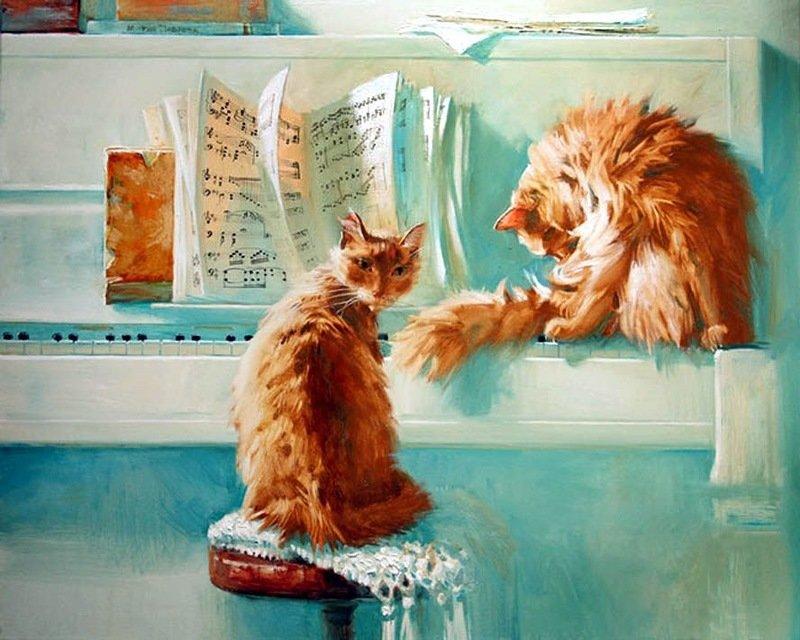 Рождением внучатой, открытка с рыжим котом