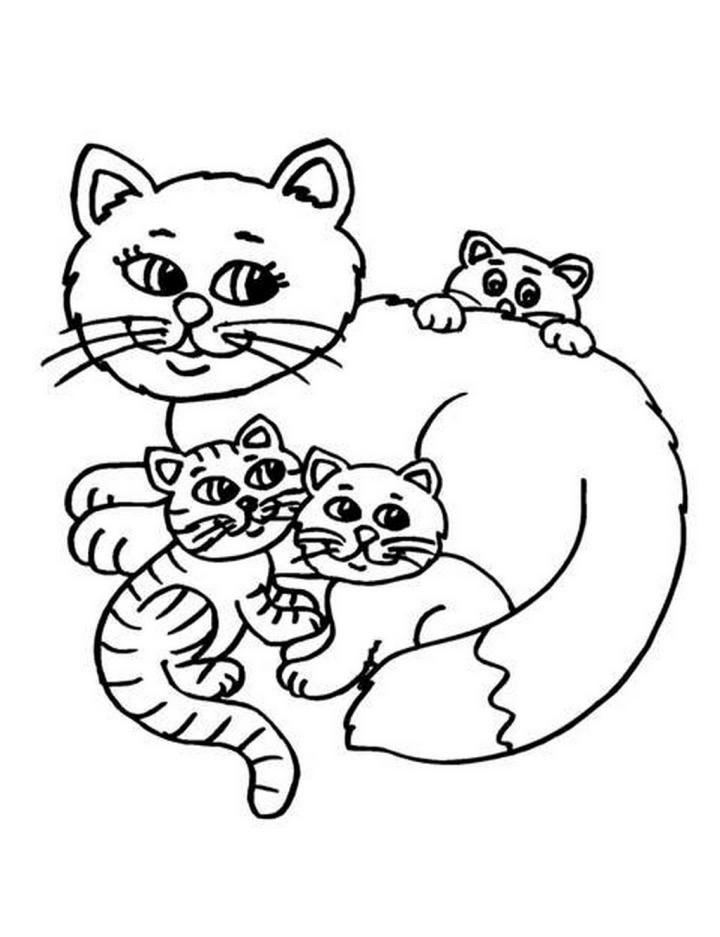 Карандашом, картинки кошки с котятами для раскрашивания