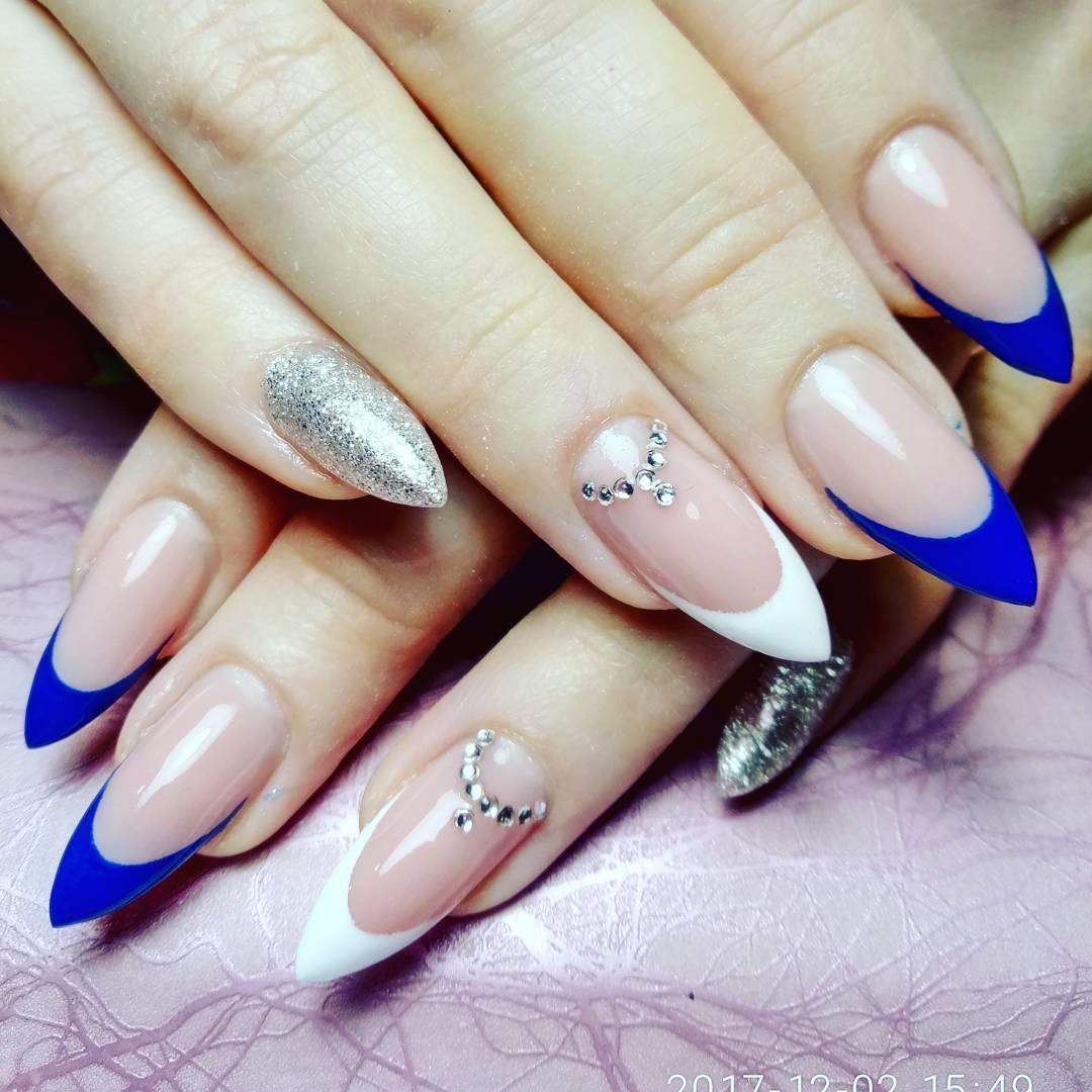 Картинки на острые ногти френч