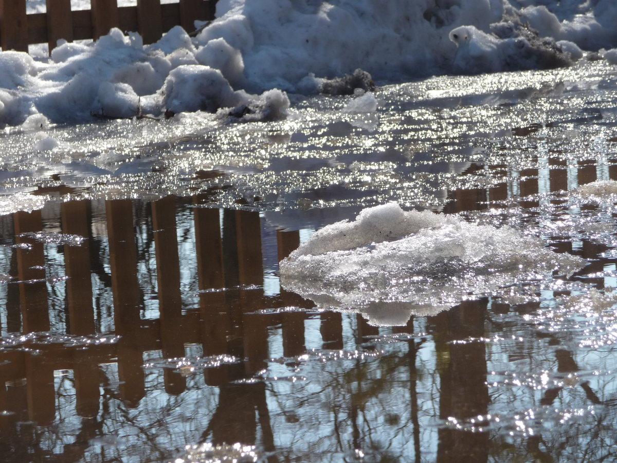 Картинки с лужей в снегу