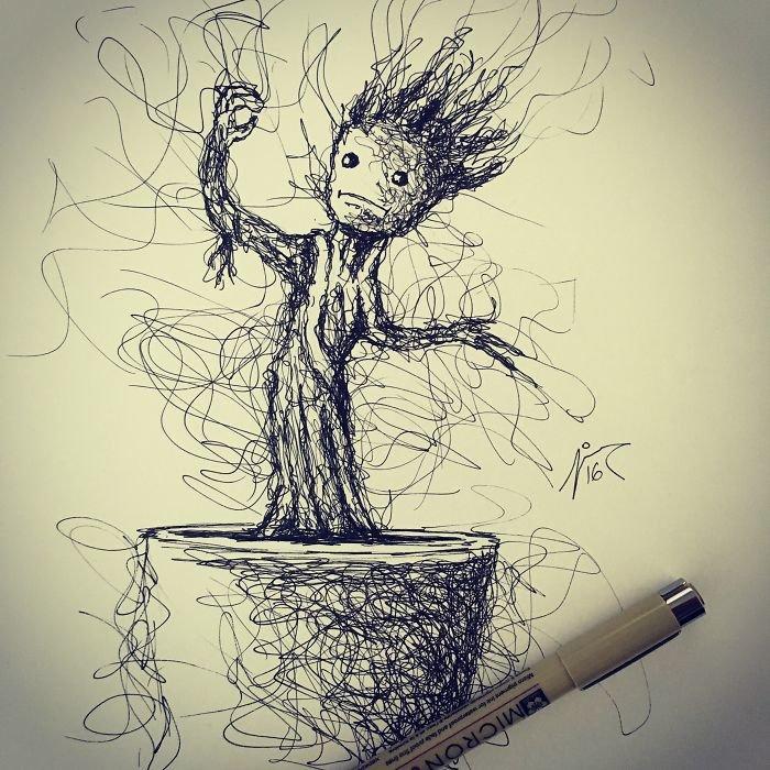 Прикольный рисунок гелевой ручкой, картинки