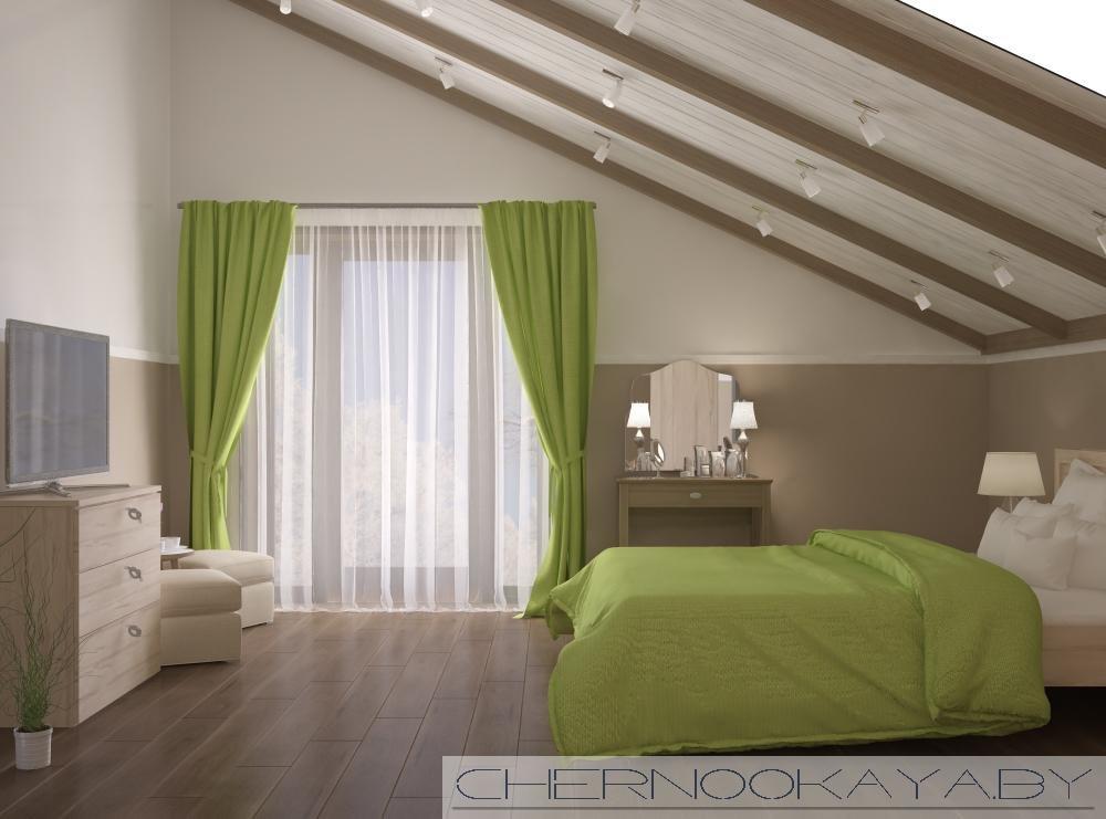 зеленая спальня на мансарде дизайн фото начать
