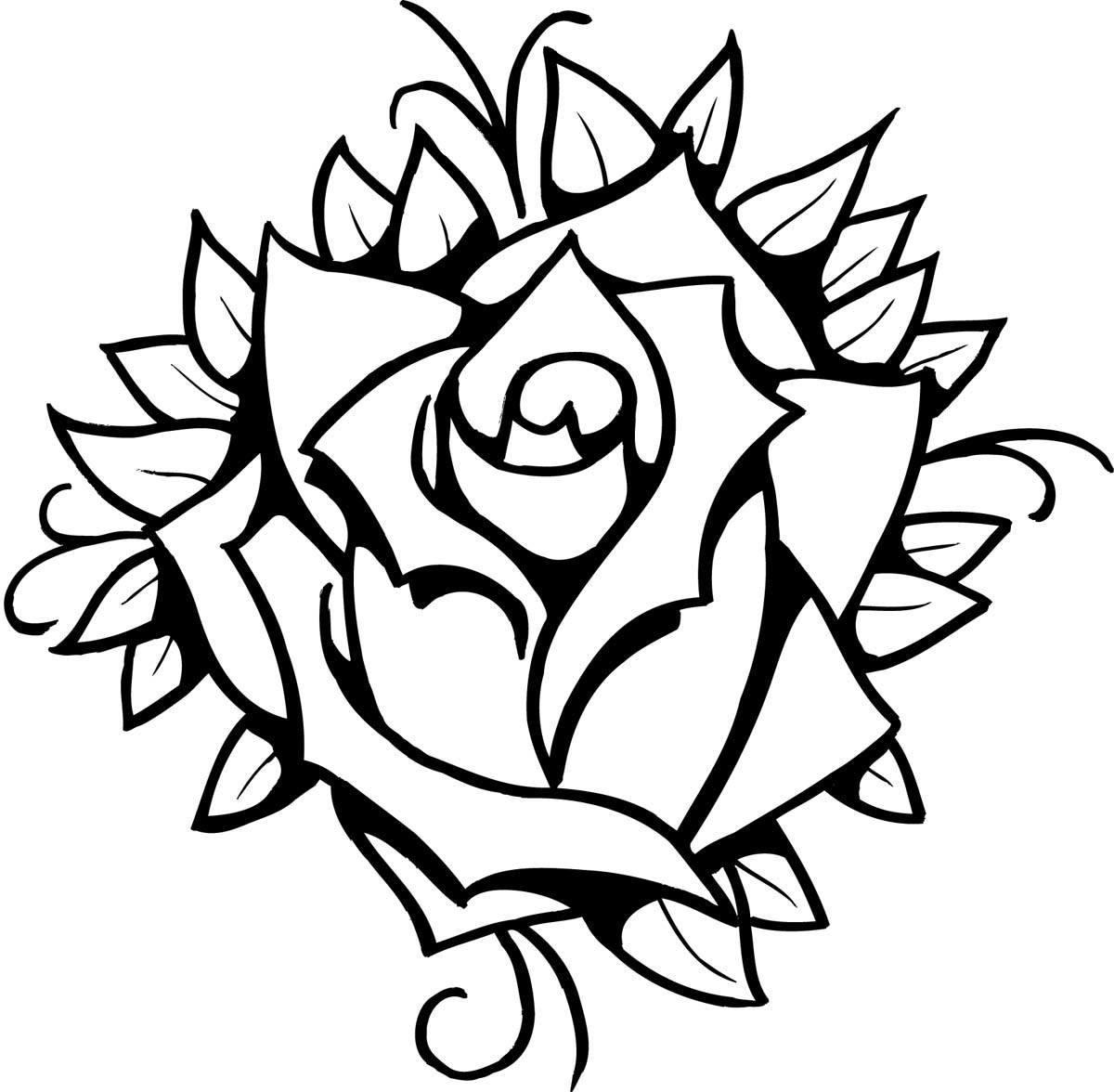 Рисунок розы для тату, улыбнись