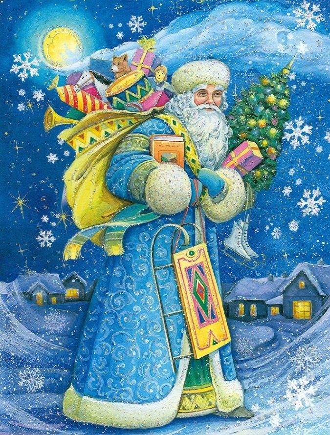 Картинки дед мороз с елкой
