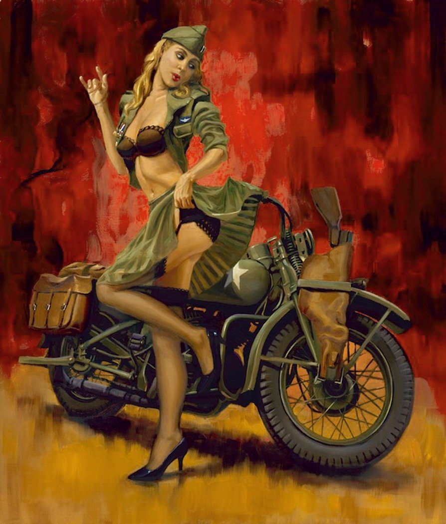 Military motorcycles with naked women on them, mikael daeznude