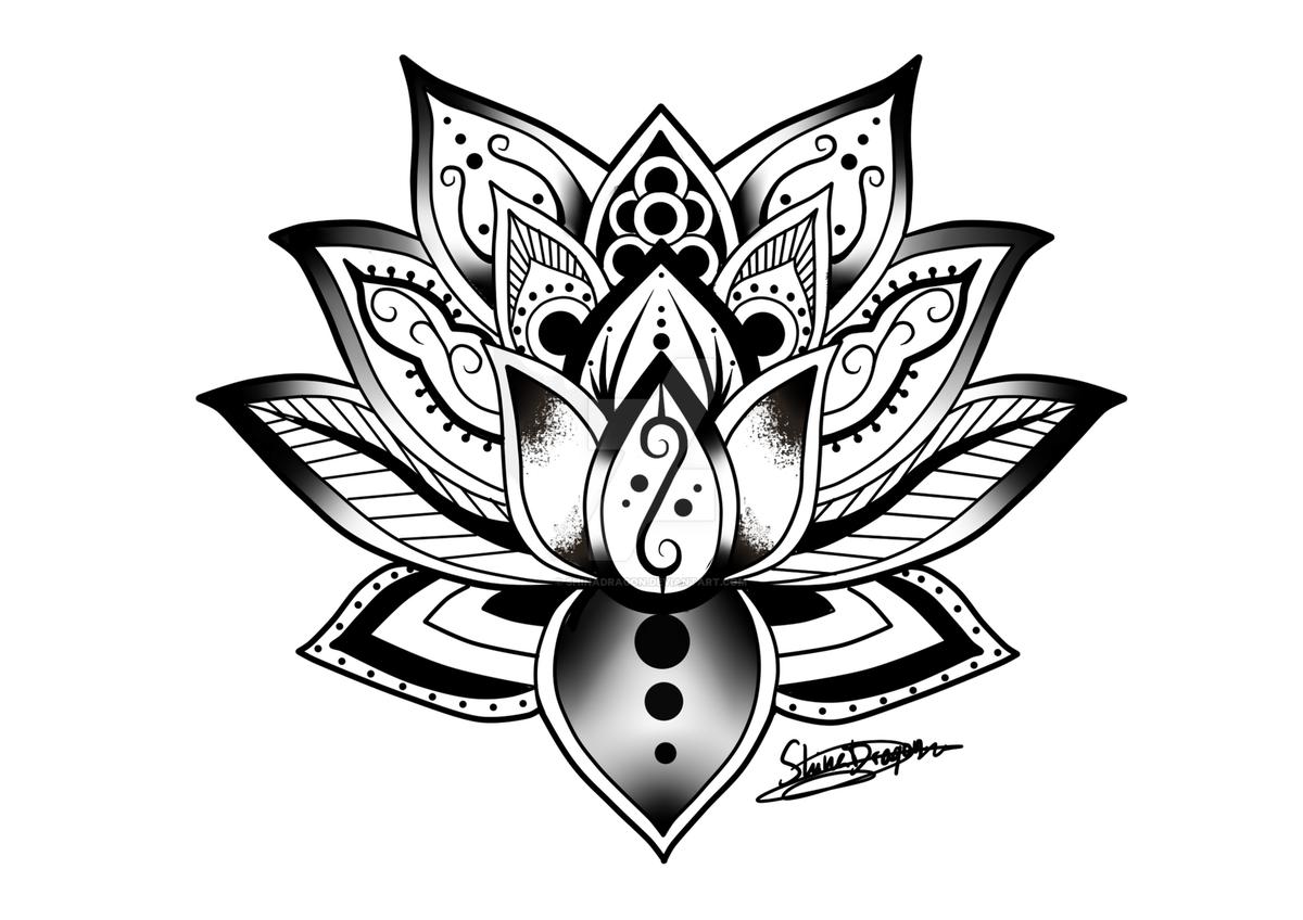 лотос цветок рисунок тату матовым стеклом