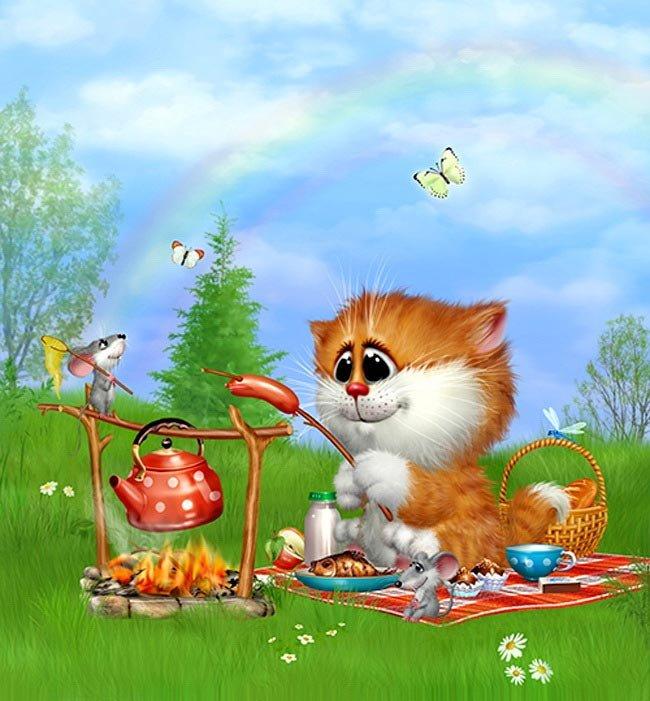 Открытки хорошего настроения с котом