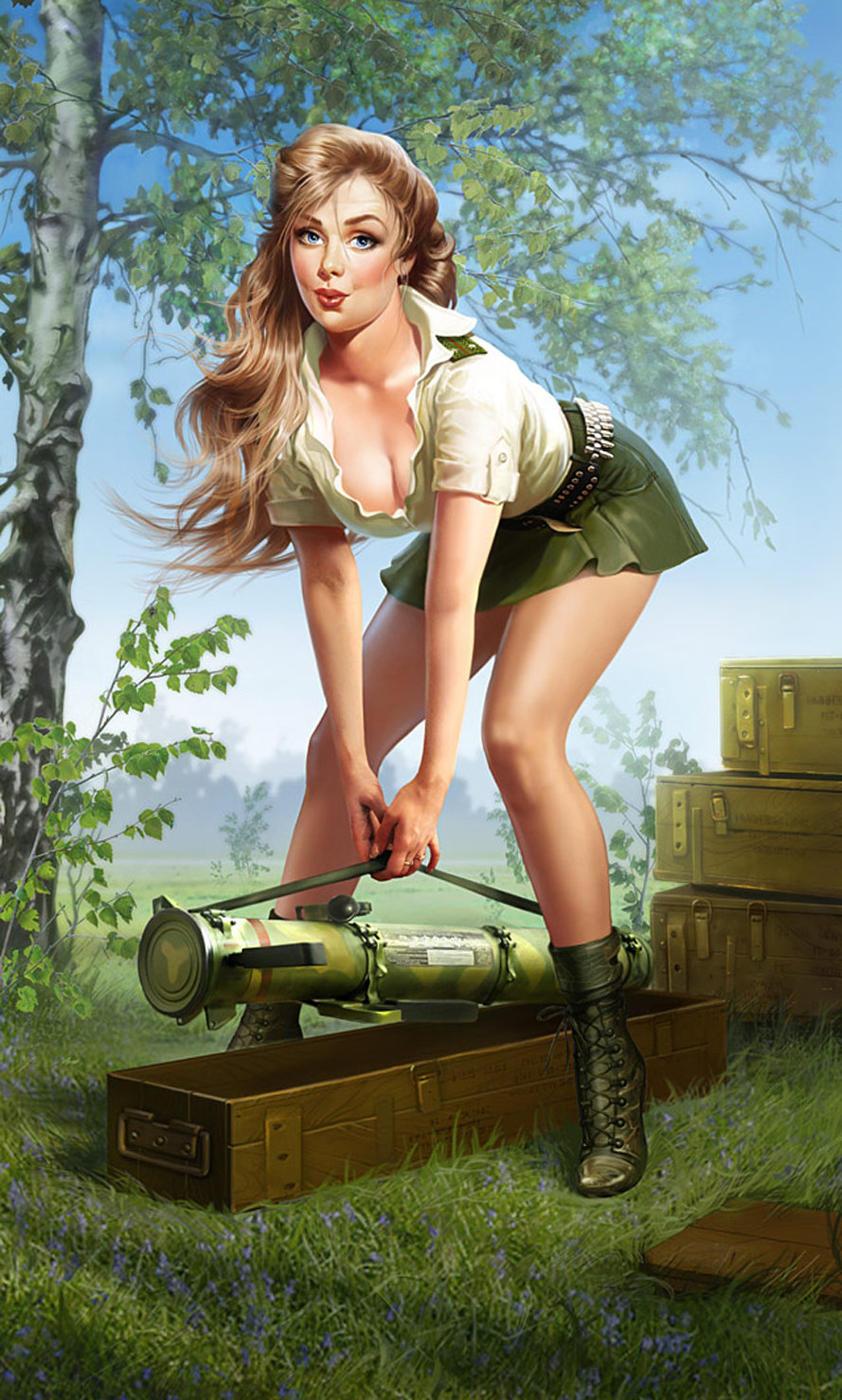 Нарисованные секси девушки в военной форме картинки, различные предметы в попе фото