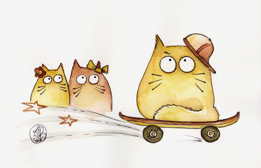 Прикольные, прикольные картинки котики для срисовки