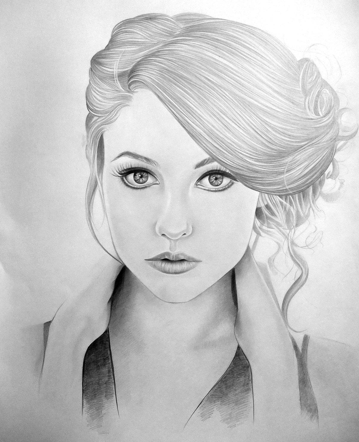 Картинки девушек карандашами