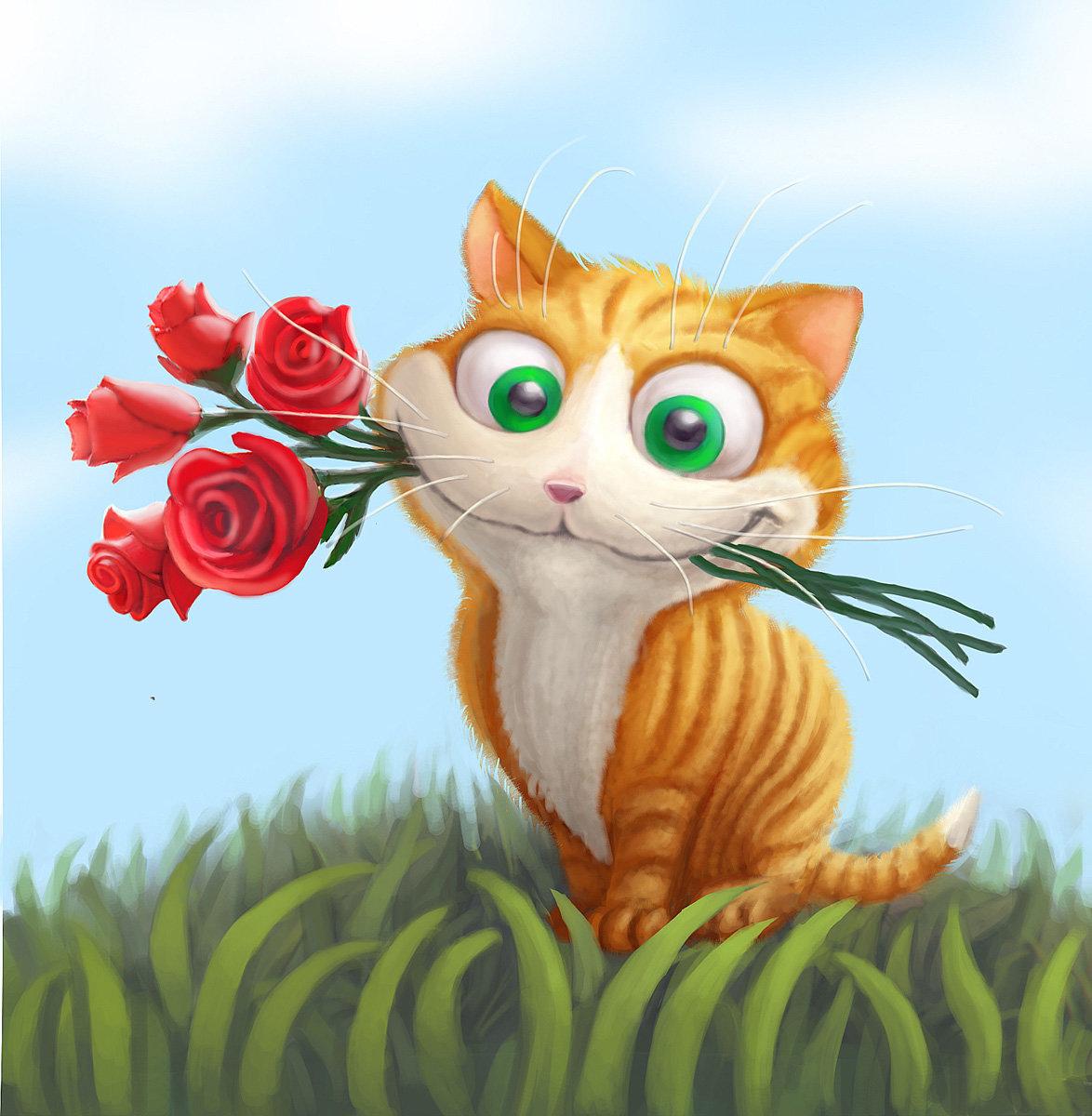 Картинки, открытка милому котику с днем рождения