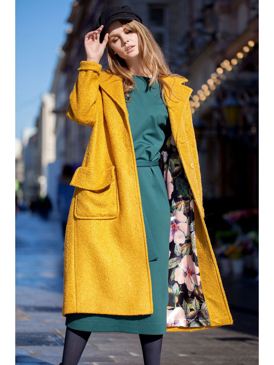 00b2ad0d01f ... Элегантное демисезонное пальто на подкладке. Модель прямого кроя длиной  ниже колена с рукавом 7