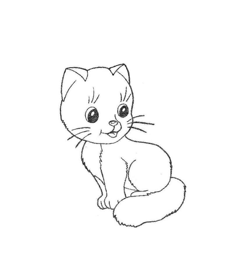 картинка маленького котенка рисунок нём много