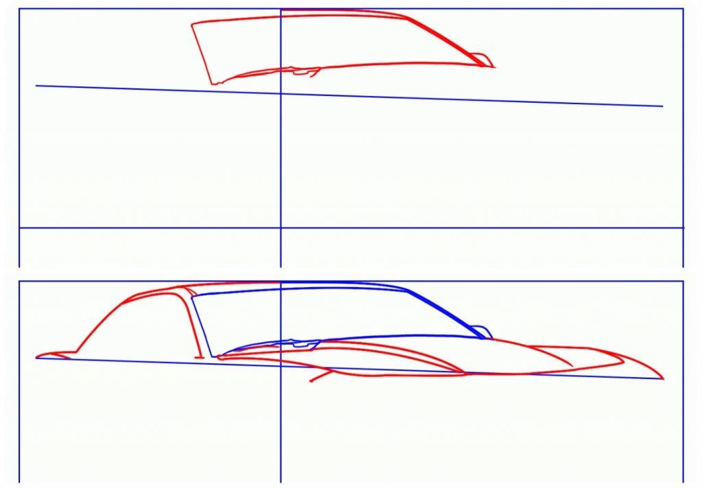 Картинки машины карандашом поэтапно