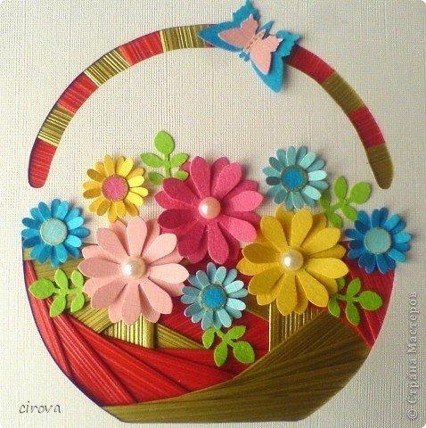Открытка летием, открытка из бумаги корзина цветов