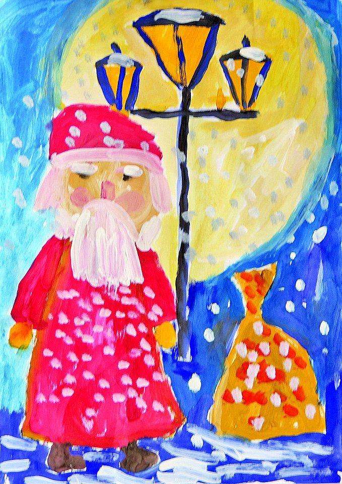 Открытка деду морозу рисунок красками, открытки