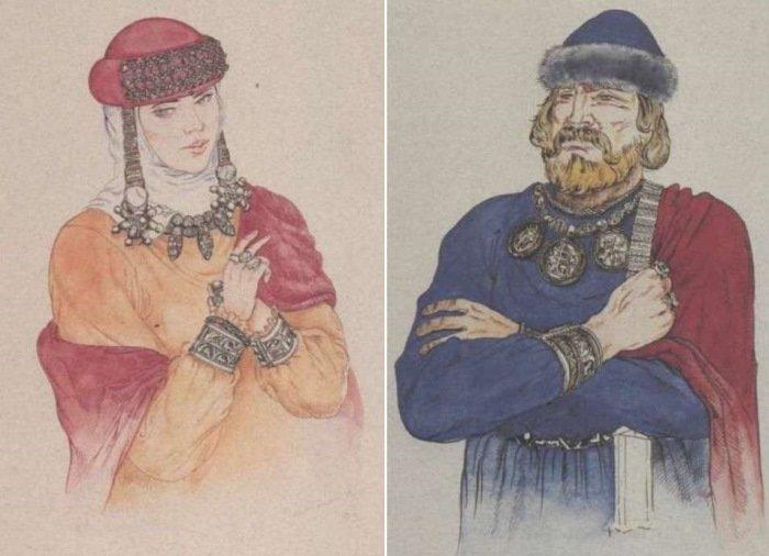 Слева – Знатная женщина в парадном уборе. Справа – Княжеские украшения для торжественных церемоний. Рисунки А. Чебыкина