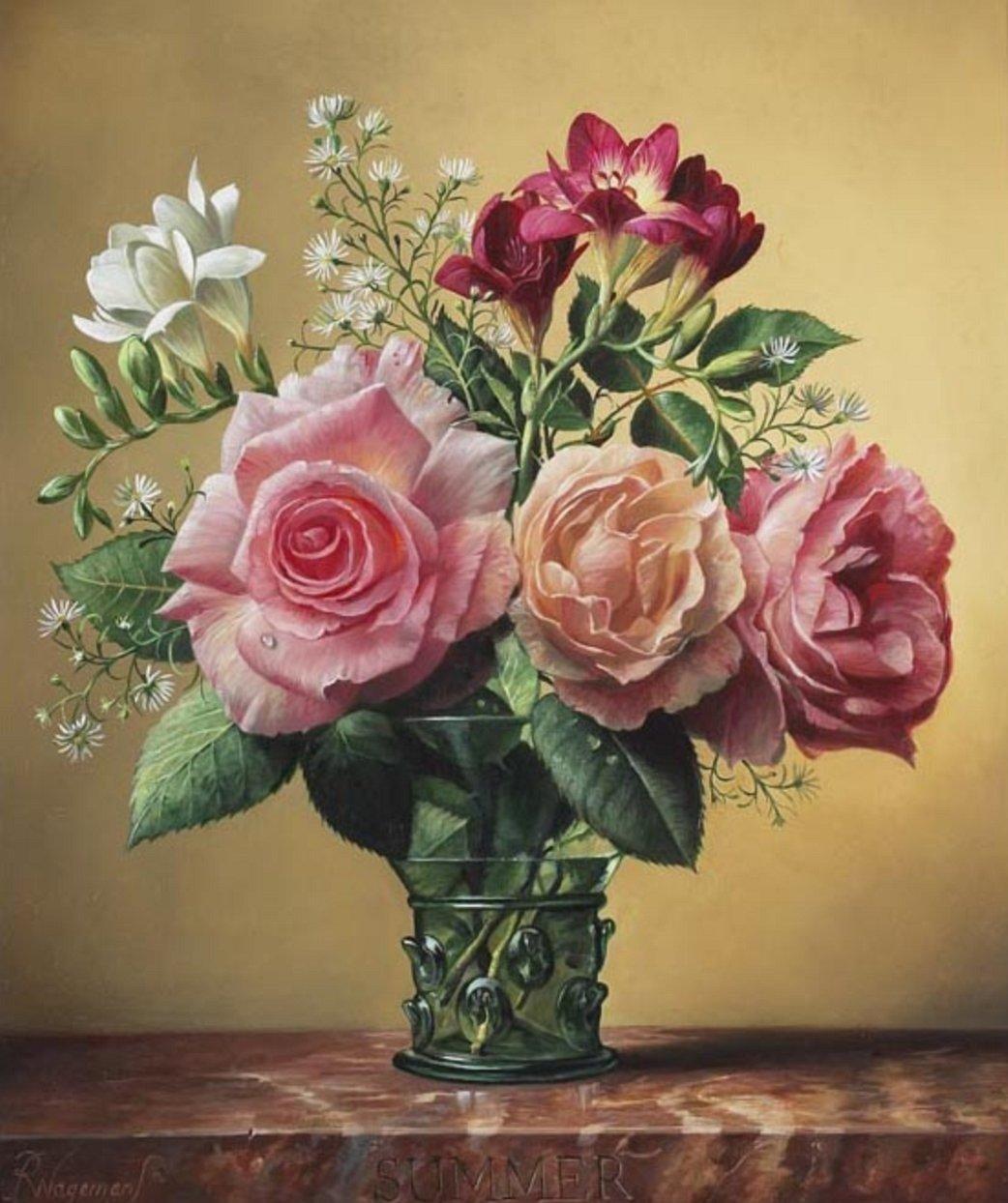 Открытка с вазой и цветами