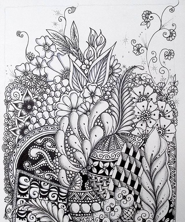zentangle vine flowers patterns patterns kid card from user smolliantares in yandexcollections - Zentangle Muster