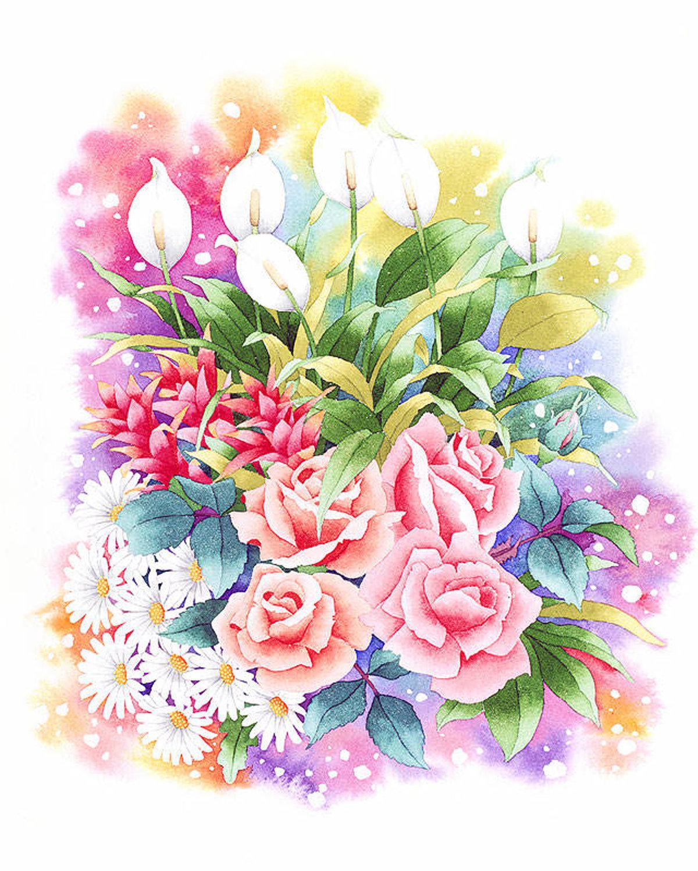 Парню, открытки с цветами мультяшные