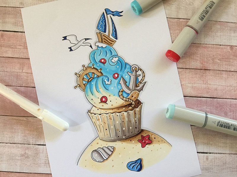 Открытка маркерами с днем рождения