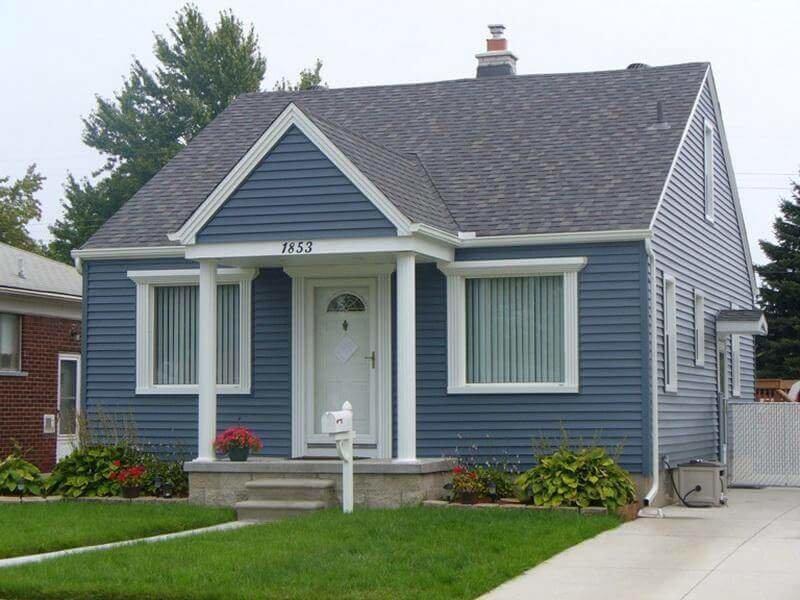 голубой сайдинг фото домов