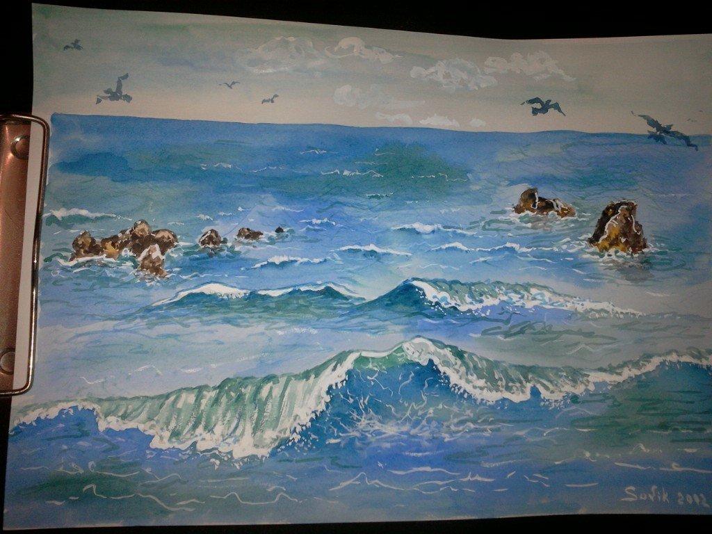 Как нарисовать своими руками картинку черного моря, днем
