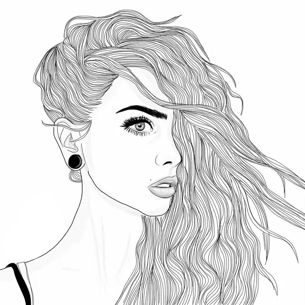 Картинки с изображением девушек для срисовки, девочка