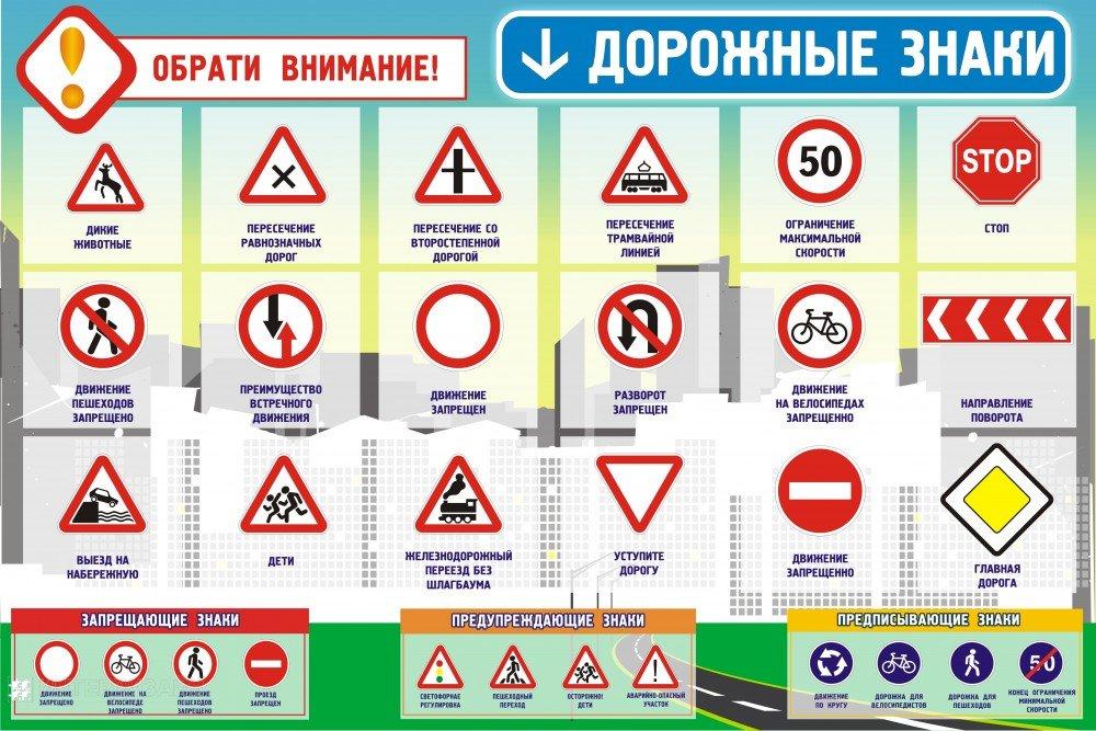 Знаки дорожного движения картинки без пояснениями