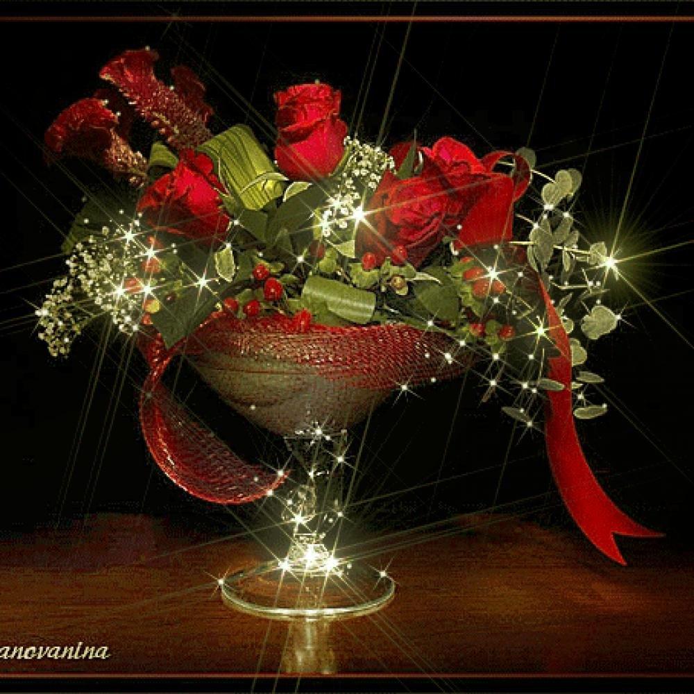 Напитки анимация, красивые открытки цветы и блестящие букет