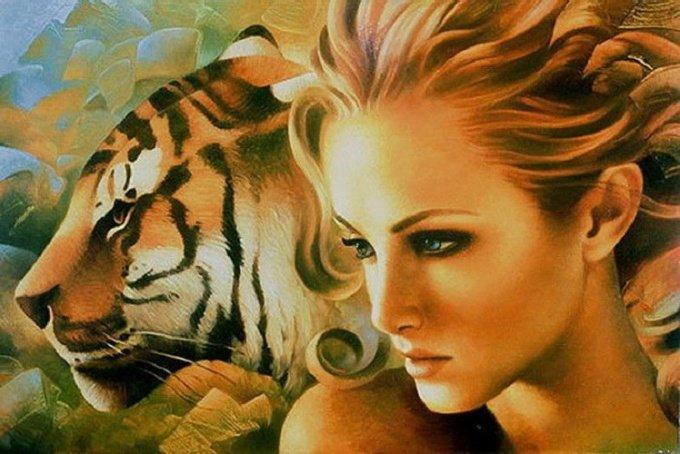 Тигр и девушка открытки, страшные картинки