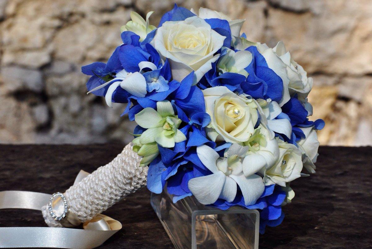 Роз день, свадебный букет из синих цветов фото