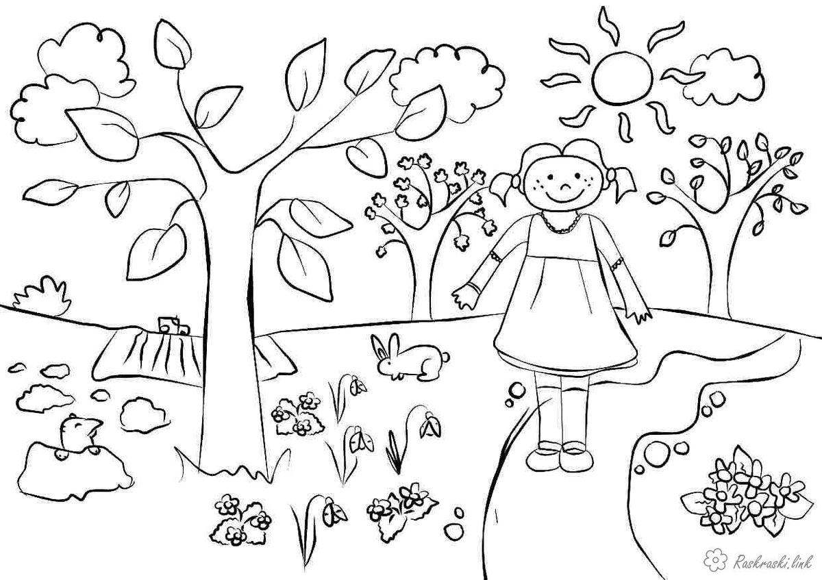 весенние картинки раскраски для малышей