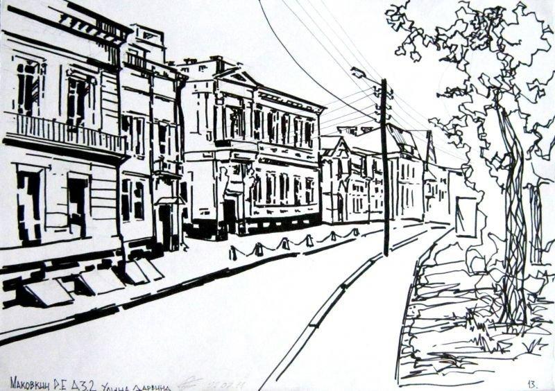 черно белый рисунок пейзаж города красивые фотографии