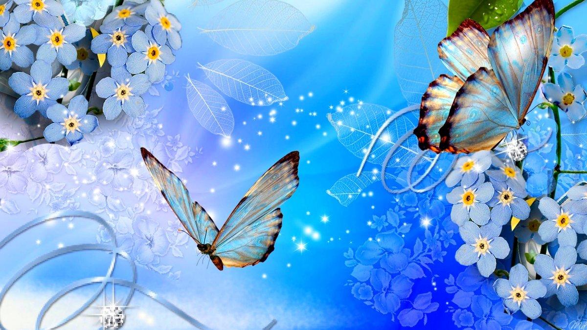 Открытка с красивыми цветами и с бабочкой, гиф советских