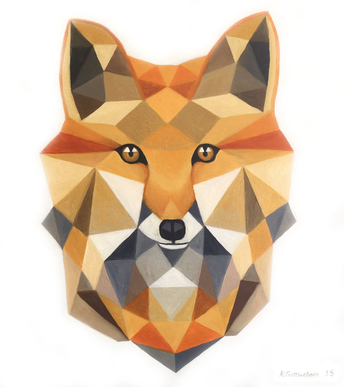 новое лиса из треугольников рисунок материалы понадобятся для