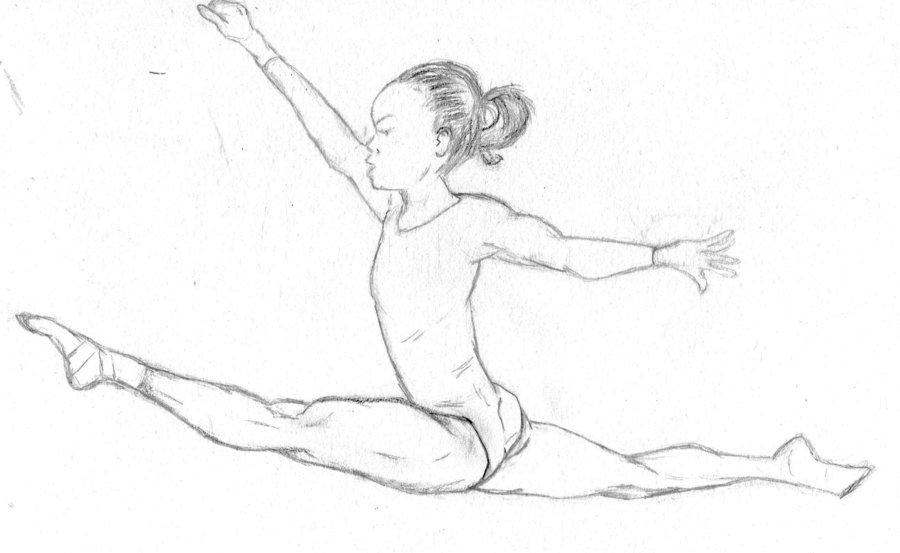 Раскраска гимнастка на шпагате