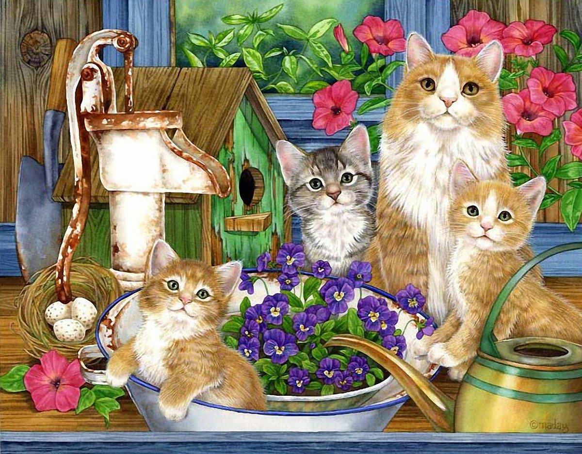 Открытки мама с котятами, подписание
