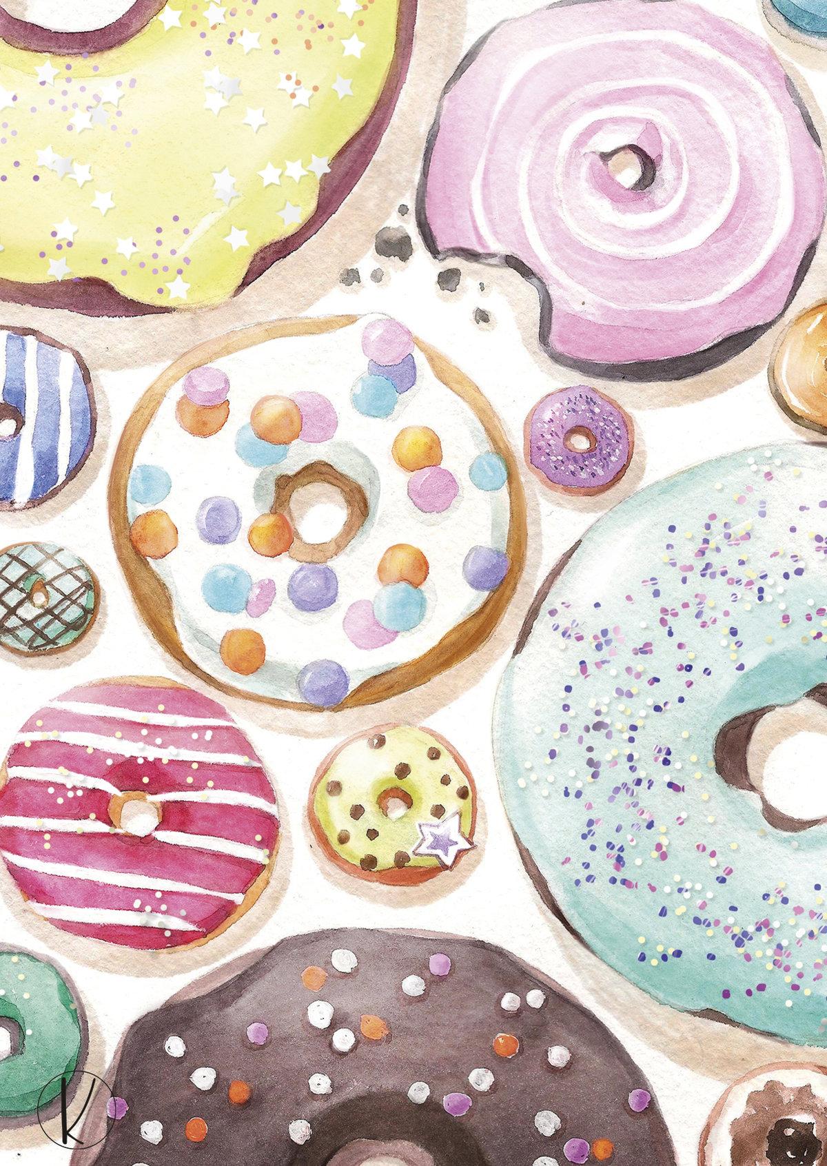 Пончик открытка, цветной фольги день