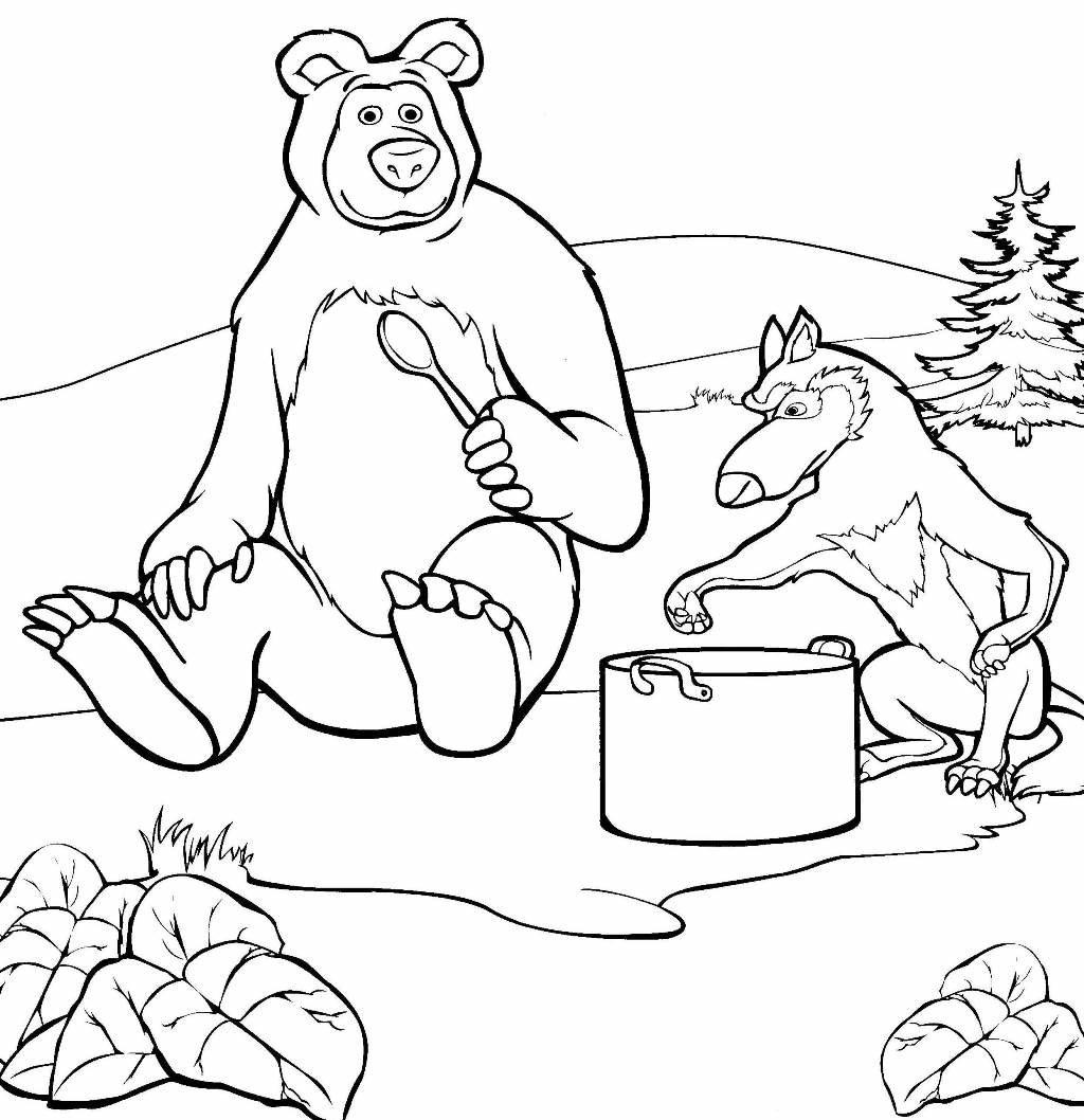 Картинки из мультика маша и медведь раскраски